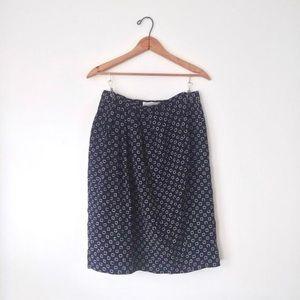 Navy Blue Geo Pattern Midi Tulip Pencil Skirt